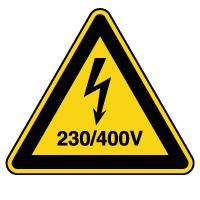 Panneau attention danger risque électrique 230/400V