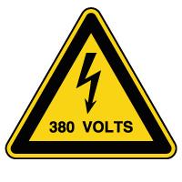 Panneau attention danger risque électrique 380V