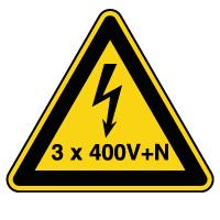 Panneau de danger risque électrique 3x400V+N