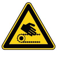 Panneau de danger risque d'écrasement par chaîne