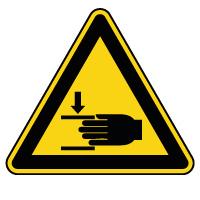 Panneau de danger écrasement des mains par chaîne