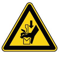 Panneau de danger écrasement des mains par presse