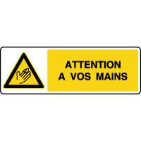 Panneau de danger horizontal risque de blessure aux mains