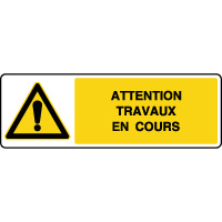 Panneau de danger horizontal attention travaux en cours