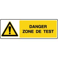 Panneau de danger zone de test