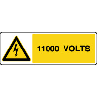 Panneau de danger horizontal risque électrique 1100V