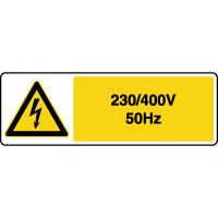 Panneau de danger horizontal risque électrique 230/400V 50Hz