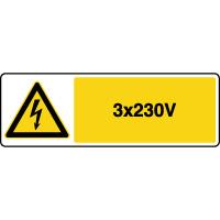 Panneau de danger horizontal risque électrique 3x230V