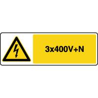Panneau de danger horizontal risque électrique 3x400V+N