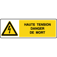 Panneau de danger horizontal haute tension danger de mort