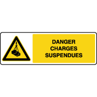 Panneau de danger horizontal charges suspendues