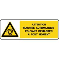 Panneau de danger rectangulaire démarrage automatique
