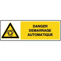 Panneau de danger horizontal démarrage automatique