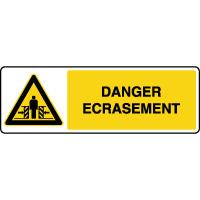 Panneau de danger horizontal danger écrasement