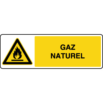 Panneau de danger horizontal gaz naturel