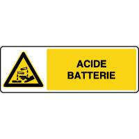 Panneau horizontal danger corrosif acide batterie