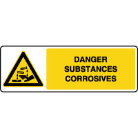 Panneau de danger horizontal substances corrosives