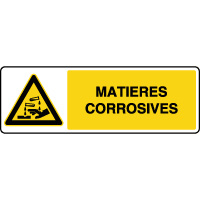 Panneau de danger horizontal matières corrosives