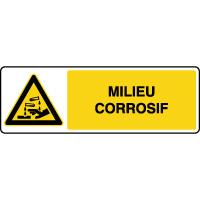 Panneau de danger horizontal milieu corrosif