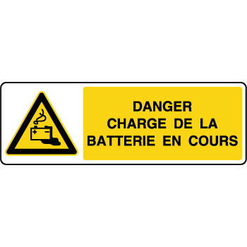 Panneau de danger horizontal charge de la batterie