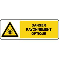 Panneau de danger horizontal rayonnement optique