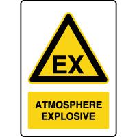 Panneau de danger vertical atmosphère explosive
