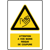 Panneau de danger vertical risque de coupure