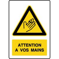 Panneau de danger vertical blessure aux mains