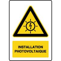 Panneau de danger vertical installation photovoltaïque