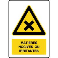 Panneau danger vertical matières nocives ou irritantes