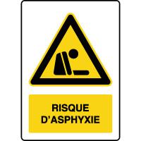 Panneau de danger vertical risque d'asphyxie