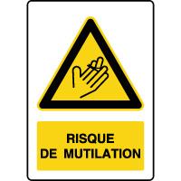Panneau de danger vertical risque de mutilation