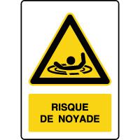 Panneau de danger vertical risque de noyade