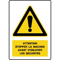 Panneau de danger vertical stopper la machine