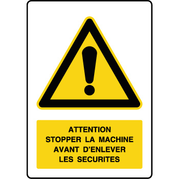 Panneau de danger vertical stopper la machine
