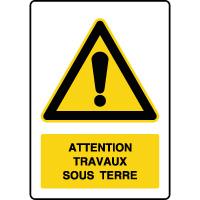 Panneau de danger vertical travaux sous terre