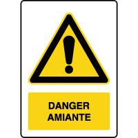 Panneau de danger vertical présence d'amiante