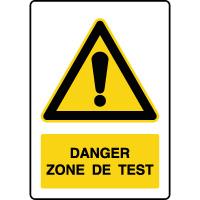 Panneau de danger vertical zone de test