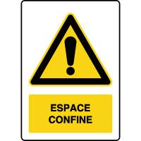 Panneau de danger vertical espace confiné