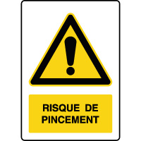 Panneau de danger vertical risque de pincement