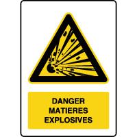 Panneau de danger vertical matières explosives