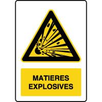 Panneau de danger vertical risques d'explosion