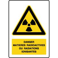 Panneau de danger vertical matières radioactives/radiations