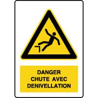 Panneau danger vertical risque chute avec dénivellation