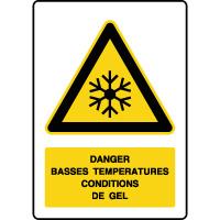Panneau de danger vertical basses températures gel