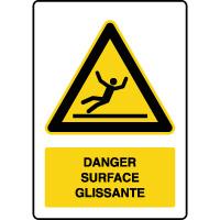 Panneau de danger vertical surface glissante
