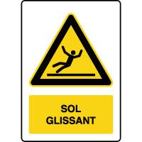 Panneau de danger vertical sol glissant