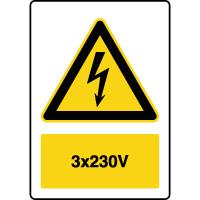 Panneau de danger vertical 3x230V