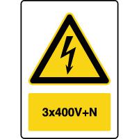Panneau de danger vertical 3x400V+N