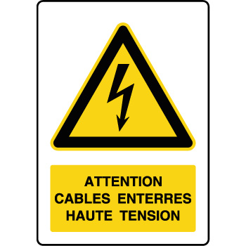 Panneau de danger vertical cables enterrés haute tension